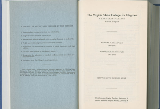 Virginia State College, <em>Virginia State College Gazette</em>, Annual Catalogue, 1940&#8211;1941, LC2851. V8 A3, Library of Virginia, Richmond, Virginia.
