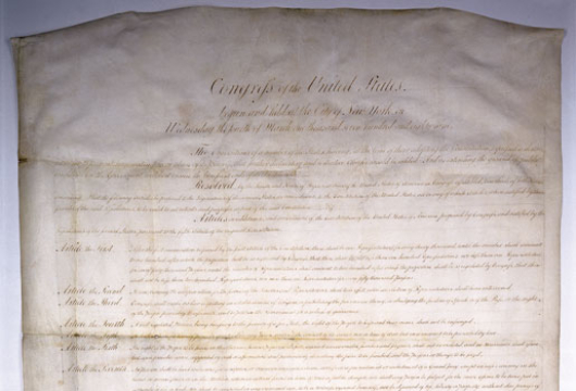 Bill of Rights to the United States Constitution, 1789, Manuscript, Records of the General Assembly, Executive Communications, Record Group 78, Library of Virginia, Richmond, Virginia.
