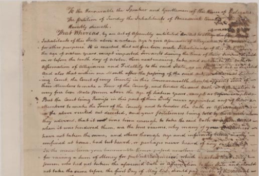 Undated Petition to the General Assembly From Inhabitants of Brunswick County, Presented to the House of Delegates on 10 October 1778. Legislative Petitions, Oversize, Box 10, Folder 10, Record Group 78, Library of Virginia, Richmond, Virginia.