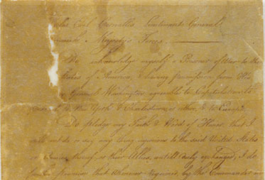Parole of Charles Cornwallis, earl Cornwallis (1738–1805), 28 October 1781, Special Collections, Library of Virginia, Richmond, Virginia.