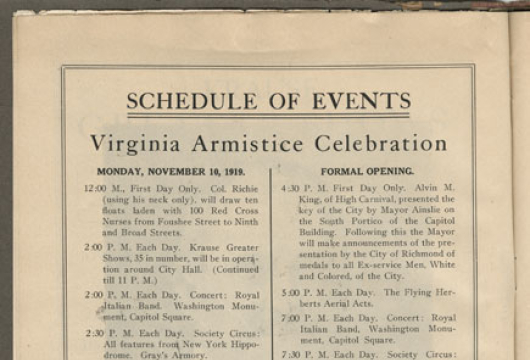 American Legion, Department of Virginia, Richmond Post No. 1, Women's Auxiliary, Official Guide and Souvenir of the First Anniversary of the Signing of Armistice, D673.V8 A5 1919, Library of Virginia, Richmond, Virginia.