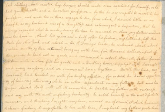 Petition of Ann P. P. Cowper for Divorce from William Cowper, 20 November 1816, Manuscript, Record Group 78, Legislative Petitions, Isle of Wight County, Box 122, Folder 45, Library of Virginia, Richmond, Virginia.