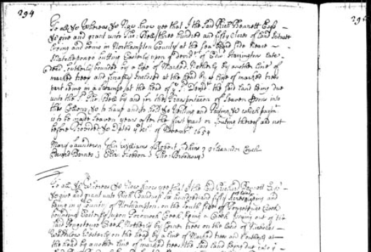 Virginia, Colonial Land Office, Land Office Patent Book Number 3, 1652–1655, page 294, Library of Virginia, Richmond, Virginia.