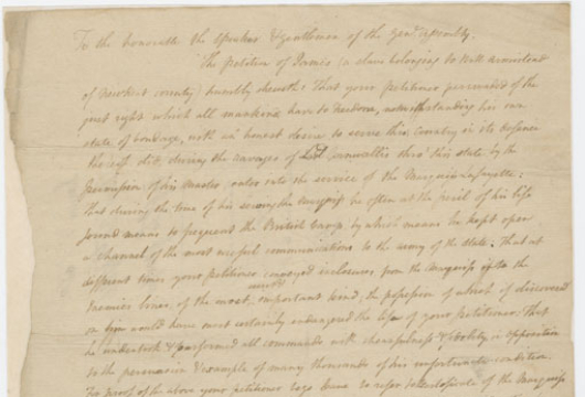 Legislative Petition for James, Slave Belonging to William Armistead, 30 November 1786, Box 179, Folder 10, Library of Virginia, Richmond Virginia.