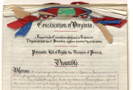 Virginia Constitutional Convention (1867–1868), Constitution, 1868, Accession 23877, State Government Records Collection, Library of Virginia, Richmond, Virginia.