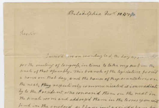 James Monroe to Governor Beverley Randolph, 10 December 1790, Executive Department, Letters Received, Beverley Randolph, 1788–1791, Record Group 3, Library of Virginia, Richmond, Virginia.