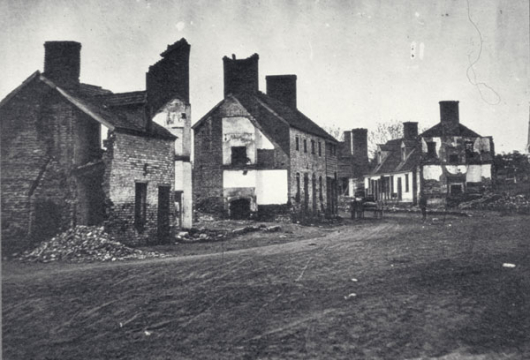 Houses of Fredericksburg, Showing the Devastating Havoc Wrought by the Gun-fire During the Battle of 13 December 1862 [picture], Computer file: 1996, Library of Virginia Richmond, Virginia.