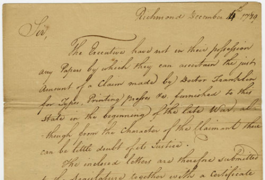 Virginia General Assembly, House of Delegates, Speaker, Executive Communications, Letters and Certificate, 14 December 1789, Accession 36912, State Government Records Collection, Library of Virginia, Richmond, Virginia.