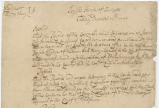 Resolution of the House of Burgesses, 17 December 1700, and Concurrence of the Governor's Council, 18 December 1700, Colonial Papers, Library of Virginia, Richmond, Virginia.