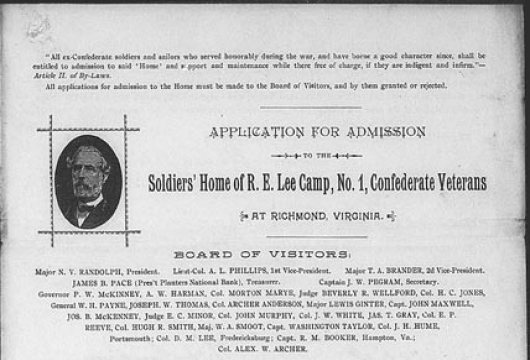 Charles L. B. Williams, Robert E. Lee Camp Confederate Soldiers' Home (Richmond, Va.), Applications of Confederate Veterans for Leaves of Absence and Honorable Discharges, 1913 and 1920, Accession 26337, State Government Records Collection, Library of Virginia, Richmond, Virginia.