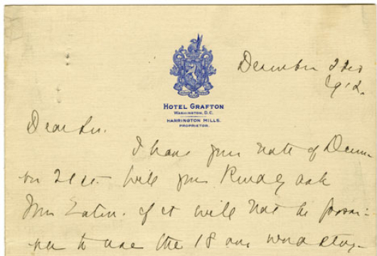 Molly Elliot Seawell to Dear Sir, 22 December 1912, Molly Elliot Seawell Papers, Accession 23830n, Personal Papers Collection, Library of Virginia, Richmond, Virginia.