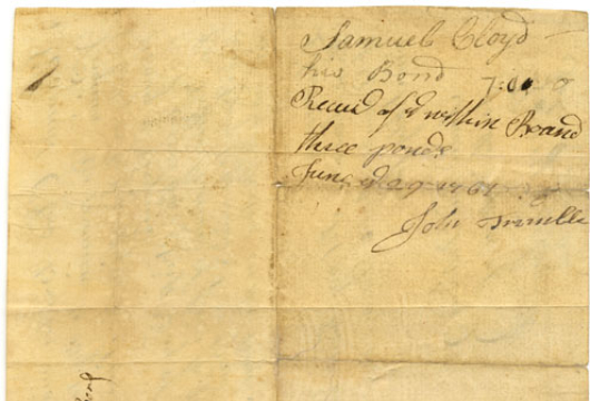 Samuel Cloyd, Promissory Note, 31 December 1764, Accession 40070, Personal Papers Collection, Library of Virginia, Richmond, Virginia.