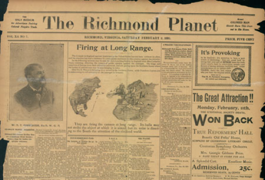 <em>Richmond Planet</em>, 2 February 1895, Original Newspaper, Library of Virginia, Richmond, Virginia.