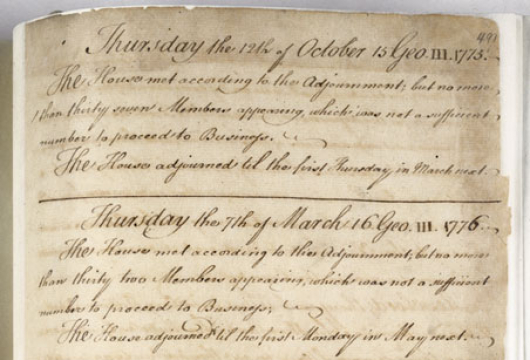 Virginia House of Burgesses, Journal, 6 May 1776, Bound manuscript, Colonial Government, House of Burgesses, Record Group 1, Library of Virginia, Richmond, Virginia.