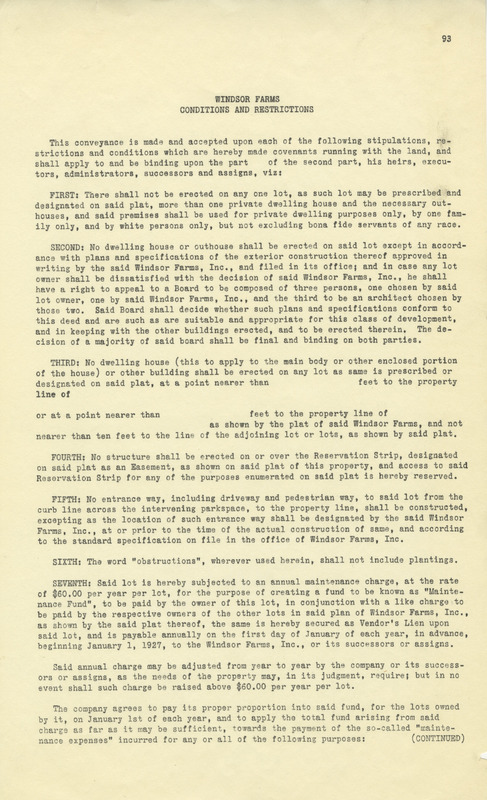 Windsor Farms Conditions and Restrictions, ca. 1930