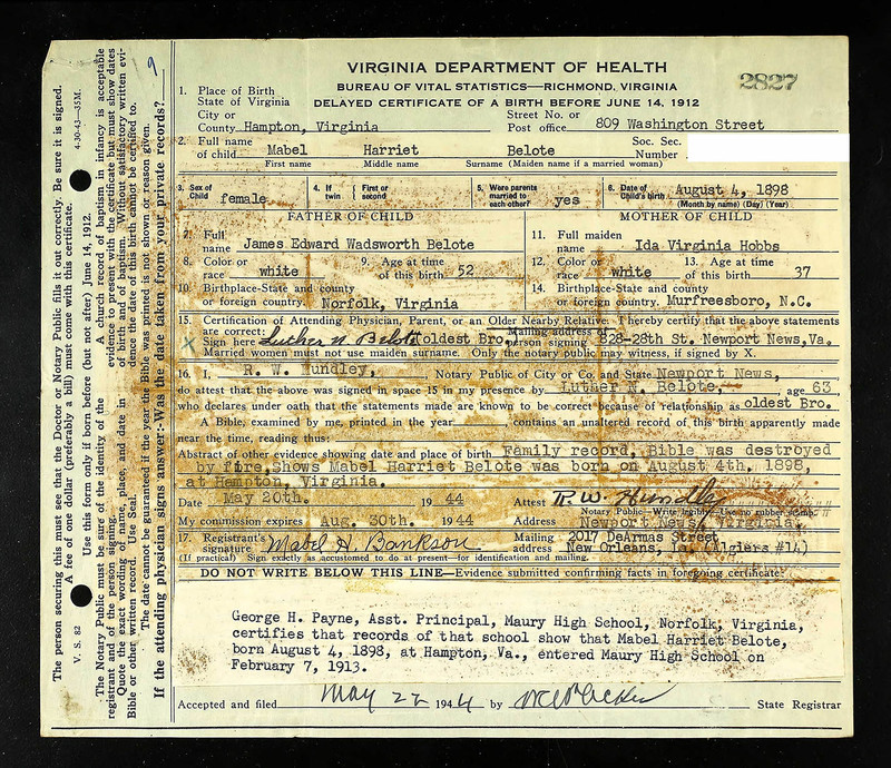Delayed Birth Certificate for Mabel Harriet Belote (born August 4, 1898)