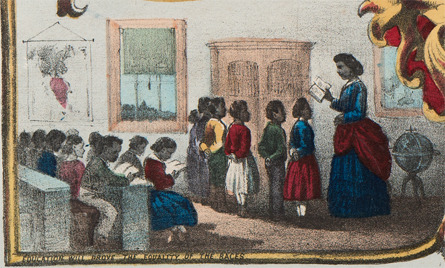Education will Prove the Equality of the Races. Detail from <em>The Fifteenth Amendment. Celebrated May 19th, 1870</em>