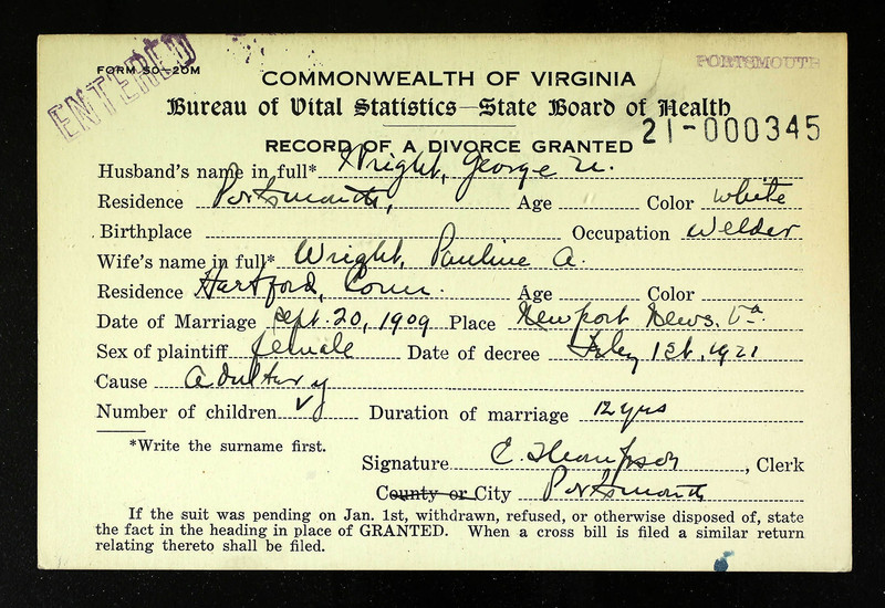 Divorce Record of Pauline A. Wright and George Wright