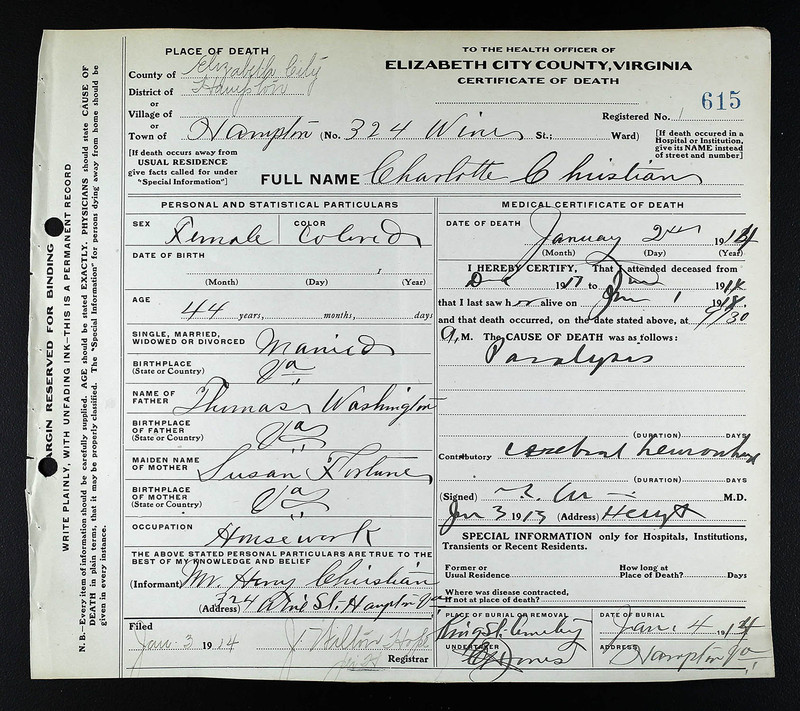 Death Certificate of Charlotte Christian (died January 2, 1914)