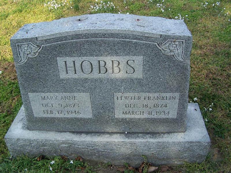Gravestone of Lewter Frankling Hobbs (1874-1934), St. John's Church Cemetery, Hampton, Virginia.