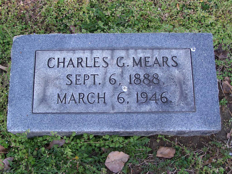 Gravestone of Charles G. Mears (1888-1946), St. John's Church Cemetery, Hampton, Virginia.