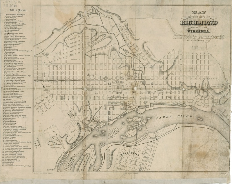 Map of Richmond, Ellyson, 1856