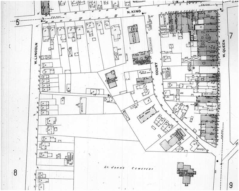 Sanborn Fire Insurance Map of Hampton, Virginia, Sheet 6 (enlargement), July 1910, Elizabeth City County Courthouse, St. John's Cemetery, and Lincoln Street