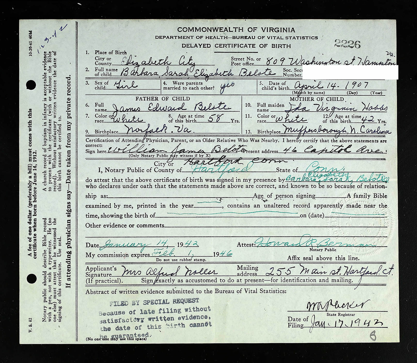 Delayed Birth Certificate For Barbara Sarah Elizabeth