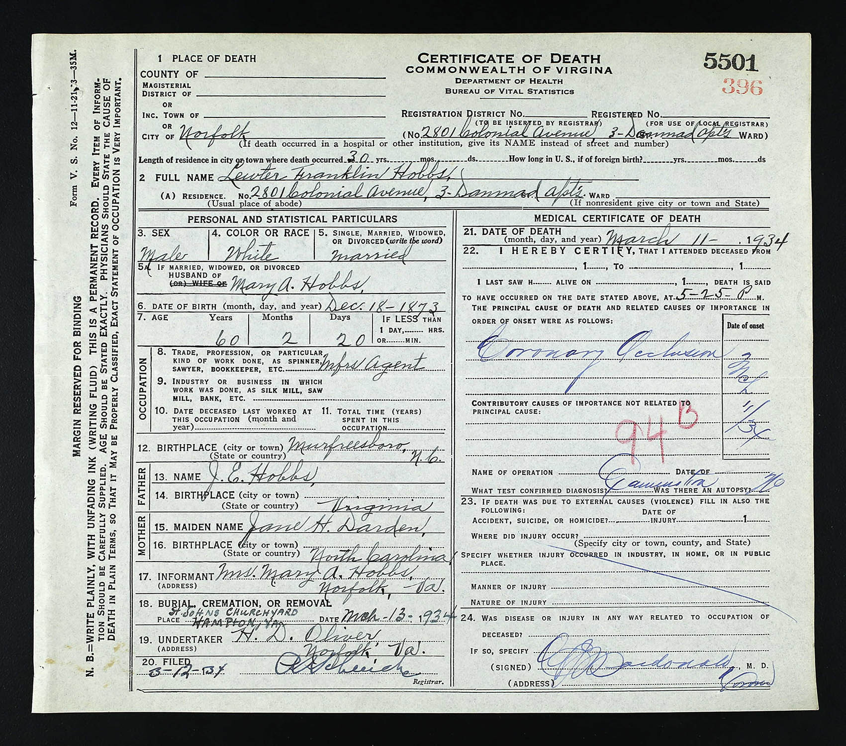Death Certificate Of Lewter Franklin Hobbs Died March 11 1934