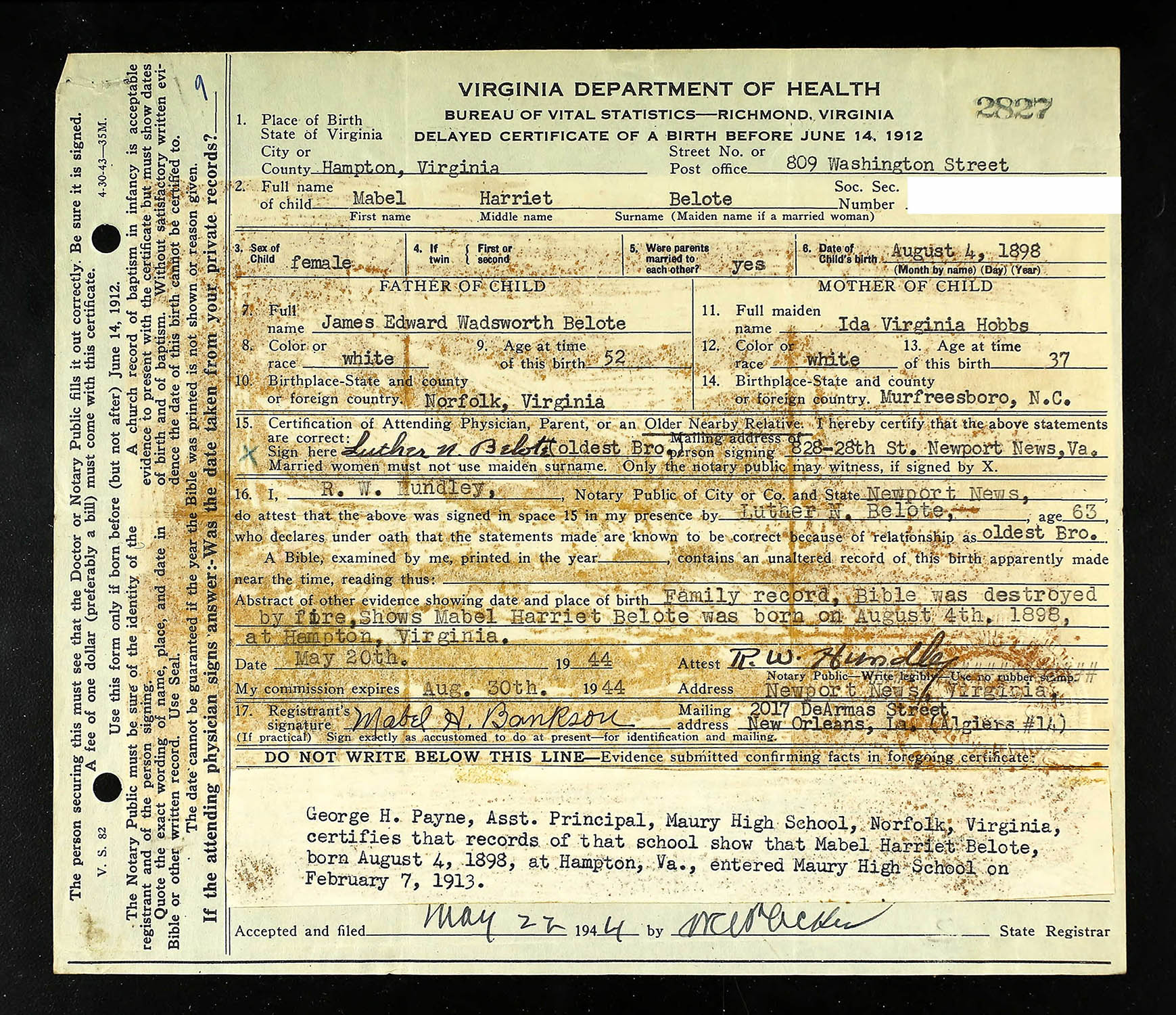 Delayed Birth Certificate For Mabel Harriet Belote Born August 4