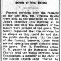 Mrs. Ida Belote Buried Today
