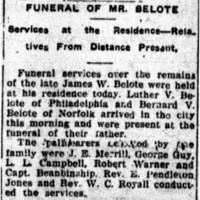 Funeral of Mr. Belote