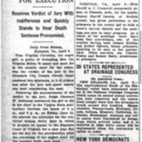 Death Sentence for Murderer of Mrs. Ida V. Belote