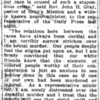 Murder of Mrs. Belote is Deplored by Negroes
