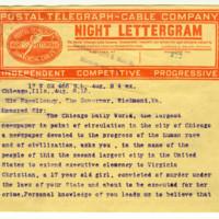 E. Val Putnam to Governor William Hodges Mann