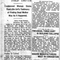 Murder Confessed by Negress, Slayer of Mrs. Ida Belote