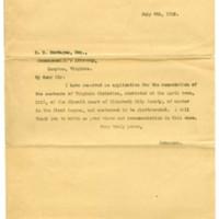 Governor William Hodges Mann to Elizabeth City County Commonwealth's Attorney E.E. Montague