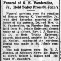 Funeral of G.K. Vanderslice, Jr., Held Today from St. John's