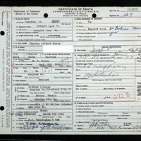 Death Certificate of Charles Gilbert Mears (died March 5, 1946)