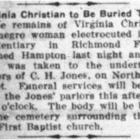 Virginia Christian to Be Buried Today
