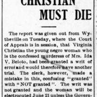 Virginia Christian Must Die