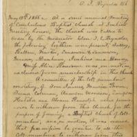 Cumberland Baptist Church, May 12, 1866, Minutes