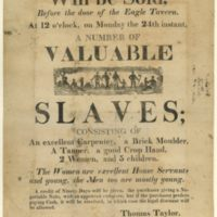 Will be Sold, Before the door of the Eagle Tavern. At 12 o'clock, on Monday the 24th instant, A Number of Valuable Slaves.