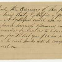 Order to bind Katy Gillespie to Dr. William A. Gillespie