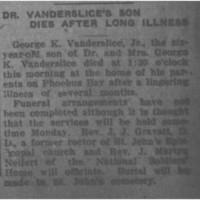 Dr. Vanderslice's Son Dies After Long Illness