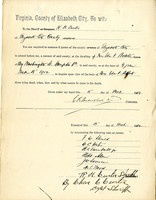 Summons of Jurors for Coroner's Inquisition of Mrs. Ida V. Belote